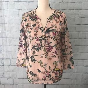 H&M Women's Smocked Blouse 3/4 sleeves Sz Small